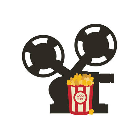 cinema viewing: videocamera pop corn film cinema movie entertainment show icon. Flat and Isolated design. Vector illustration