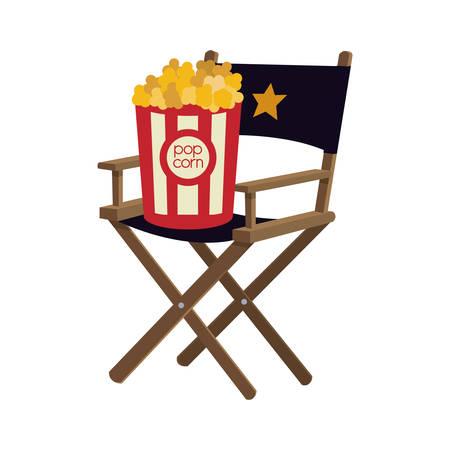 pop corn: pop corn director chair film cinema movie entertainment show icon. Flat and Isolated design. Vector illustration