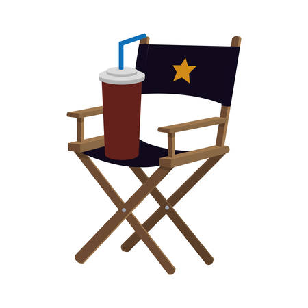 director chair soda film cinema movie entertainment show icon. Flat and Isolated design. Vector illustration
