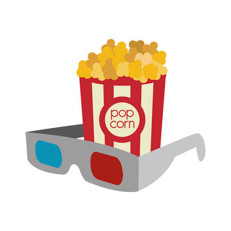 3d glasses: pop corn 3d glasses film cinema movie entertainment show icon. Flat and Isolated design. Vector illustration