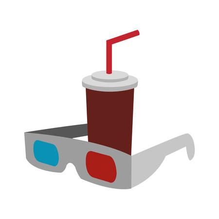 3d glasses soda film cinema movie entertainment show icon. Flat and Isolated design. Vector illustration Illustration