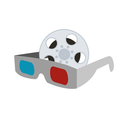 3d glasses film reel cinema movie entertainment show icon. Flat and Isolated design. Vector illustration