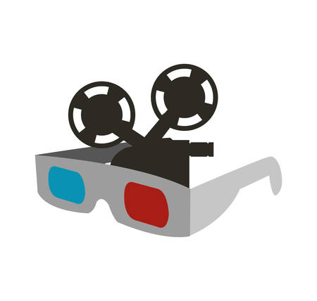 videocamera: 3d glasses film videocamera cinema movie entertainment show icon. Flat and Isolated design. Vector illustration