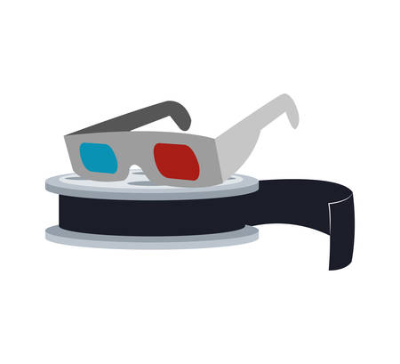 3d glasses: 3d glasses film reel cinema movie entertainment show icon. Flat and Isolated design. Vector illustration