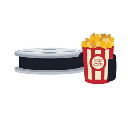 pop corn film reel cinema movie entertainment show icon. Flat and Isolated design. Vector illustration Illustration