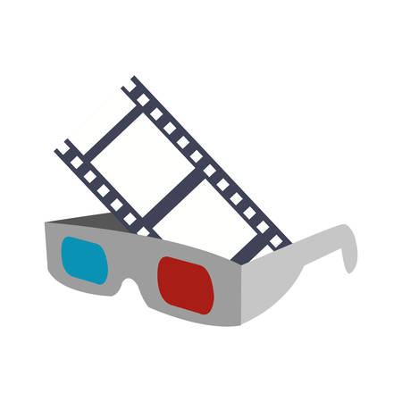 cinema viewing: 3d glasses film strip cinema movie entertainment show icon. Flat and Isolated design. Vector illustration