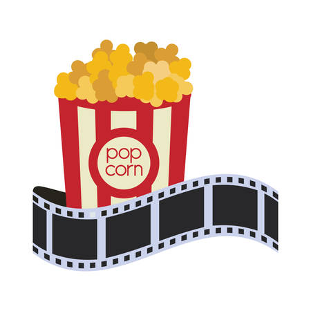 strip show: pop corn film strip cinema movie entertainment show icon. Flat and Isolated design. Vector illustration