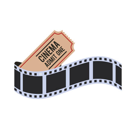 strip show: film strip ticket cinema movie entertainment show icon. Flat and Isolated design. Vector illustration
