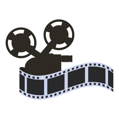 videocamera: film strip videocamera cinema movie entertainment show icon. Flat and Isolated design. Vector illustration