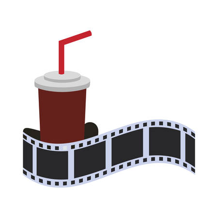 strip show: film strip soda cinema movie entertainment show icon. Flat and Isolated design. Vector illustration Illustration