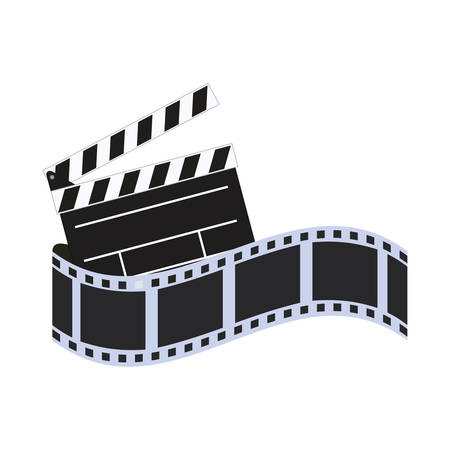 film strip clapboard cinema movie entertainment show icon. Flat and Isolated design. Vector illustration