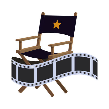 strip show: director chair film strip cinema movie entertainment show icon. Flat and Isolated design. Vector illustration