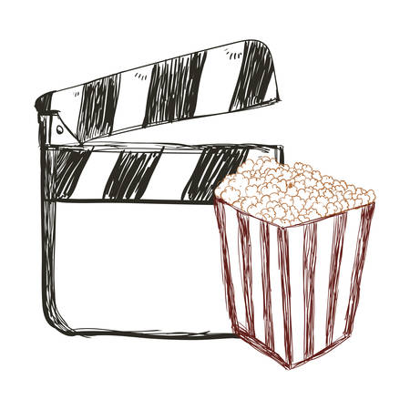clapboard pop corn film cinema movie entertainment show icon. Sketch and Isolated design. Vector illustration