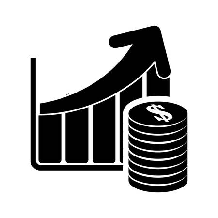 bard: infographic bars coins business financial item icon. Flat and Isolated design. Vector illustration