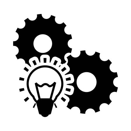 item icon: gears bulb business financial item icon. Flat and Isolated design. Vector illustration