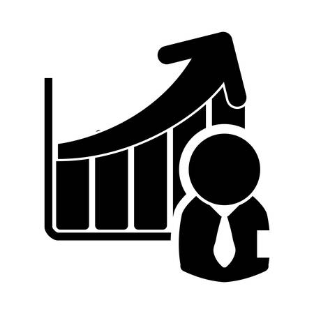 item icon: businessman infographic pictogram necktie business financial item icon. Flat and Isolated design. Vector illustration