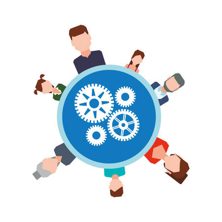 avatar gears teamwork support collaborative cooperation work icon set. Colorful design. Vector illustration Illustration