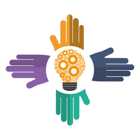 collaborative: hand bulb gears teamwork support collaborative cooperation work icon set. Colorful design. Vector illustration