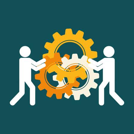 pictogram gears teamwork support collaborative cooperation work icon set. Colorful design. Vector illustration Illustration