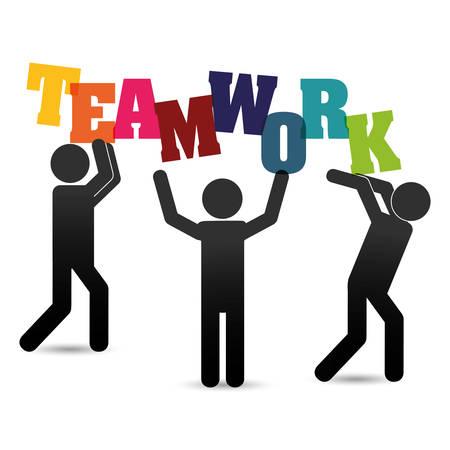 collaborative: pictogram teamwork support collaborative cooperation work icon set. Colorful design. Vector illustration