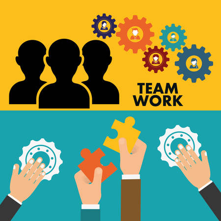 constructing: pictogram gears hand teamwork support collaborative cooperation work icon set. Colorful design. Vector illustration