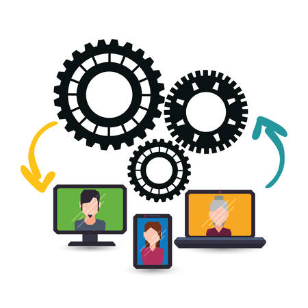 avatar computer laptop smartphone gears teamwork support collaborative cooperation work icon set. Colorful design. Vector illustration