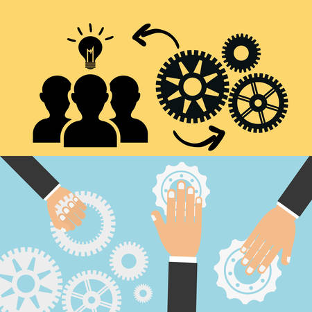 collaborative: pictogram gears hand bulb teamwork support collaborative cooperation work icon set. Colorful design. Vector illustration