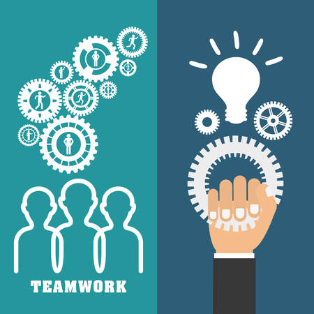 pictogram gears hand bulb teamwork support collaborative cooperation work icon set. Colorful design. Vector illustration