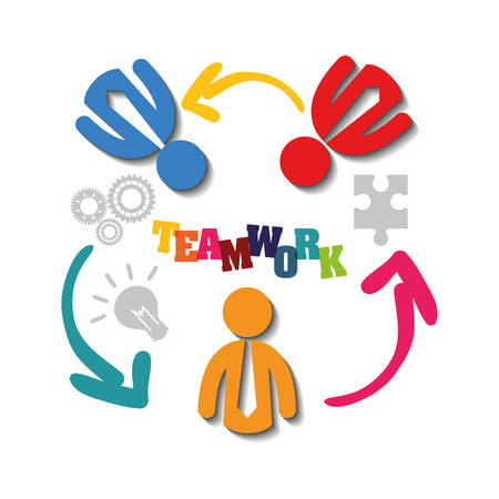 pictograms puzzle teamwork support collaborative cooperation work icon set. Colorful design. Vector illustration
