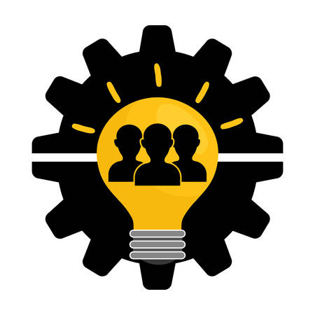 collaborative: pictogram gears bulb teamwork support collaborative cooperation work icon set. Colorful design. Vector illustration