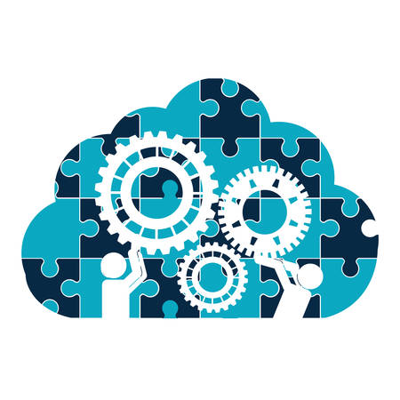 puzzle pictograms gears clouds teamwork support collaborative cooperation work icon set. Colorful design. Vector illustration Illustration
