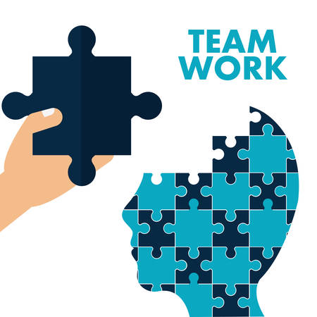head support: puzzle hand head teamwork support collaborative cooperation work icon set. Colorful design. Vector illustration Illustration