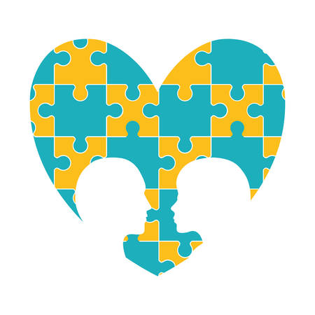 heart puzzle: puzzle head heart teamwork support collaborative cooperation work icon set. Colorful design. Vector illustration