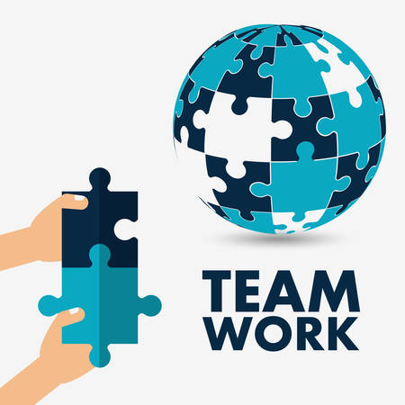 constructing: puzzle hand sphere teamwork support collaborative cooperation work icon set. Colorful design. Vector illustration