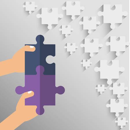 collaborative: puzzle hand teamwork support collaborative cooperation work icon set. Colorful design. Vector illustration