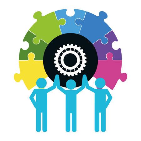 collaborative: pictogram puzzle gear teamwork support collaborative cooperation work icon set. Colorful design. Vector illustration Illustration