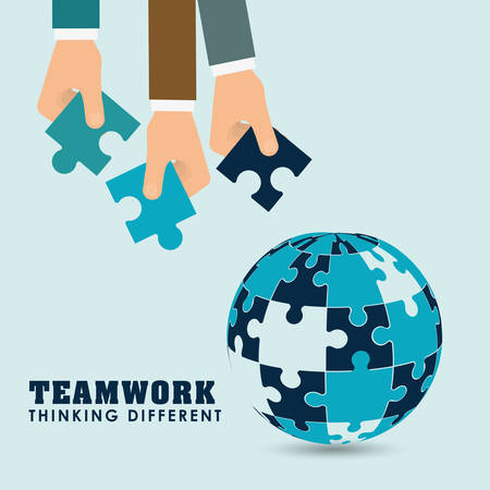 collaborative: puzzle hand sphere teamwork support collaborative cooperation work icon set. Colorful design. Vector illustration