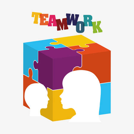 puzzle head cube teamwork support collaborative cooperation work icon set. Colorful design. Vector illustration Illustration