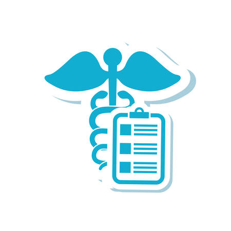 historia clinica: caduceus history medical health care icon. Flat and Isolated design. Vector illustration Vectores