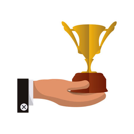 trophy hand cup gold winner competition success icon. Flat and Isolated design. Vector illustration