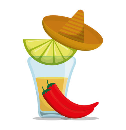 shots alcohol: Tequila shot hat and pepper . Mexico landmark and mexican culture theme. Colorful design. Vector illustration