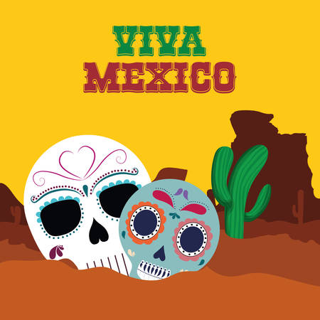 Skul and cactusl . Mexico landmark and mexican culture theme. Colorful design. Vector illustration