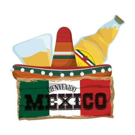 Tequila and hat . Mexico landmark and mexican culture theme. Colorful design. Vector illustration
