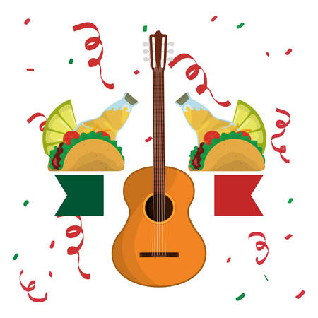 Tequila guitar and taco . Mexico landmark and mexican culture theme. Colorful design. Vector illustration Illustration