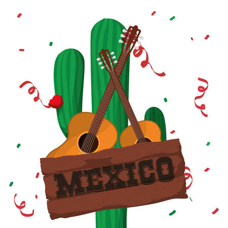 Guitar and cactus. Mexico landmark and mexican culture theme. Colorful design. Vector illustration