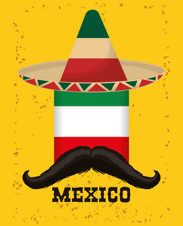Hat and mustache. Mexico landmark and mexican culture theme. Colorful and grunge design. Vector illustration