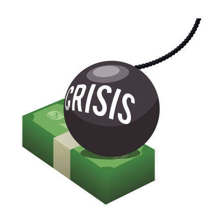 economic forecast: bills bomb and crisis icon. Money financial and economy theme. Isolated design. Vector illustration