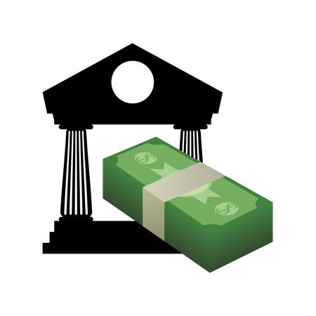 economic forecast: bills and bank icon. Money financial and economy theme. Isolated design. Vector illustration