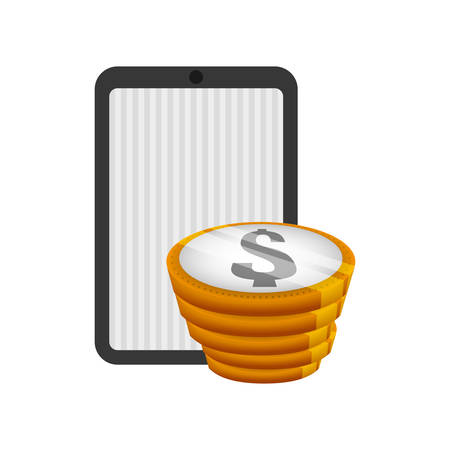 economic forecast: tablet and coins icon. Money financial and economy theme. Isolated design. Vector illustration Illustration