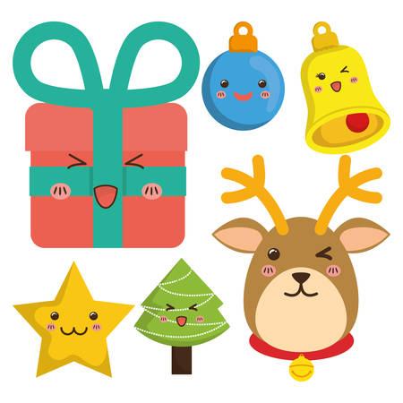 pinetree: reindeer gifts star pinetree sphere bell cartoon icon. Merry Christmas decoration and season theme. Colorful design. Vector illustration Illustration
